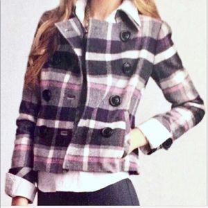 CAbi Wool Blend Double Breasted Plaid Jacket